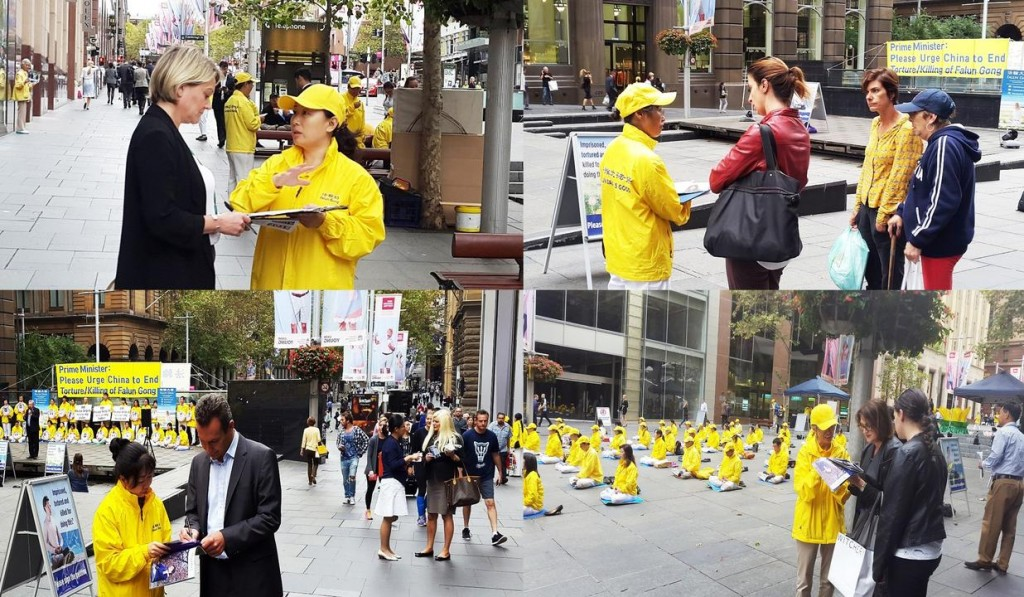 People sign a petition to support Falun Gong practitioners' peaceful efforts to end the persecution in China.