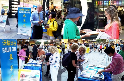 New Zealanders pause to view display boards and talk to Falun Gong practitioners.