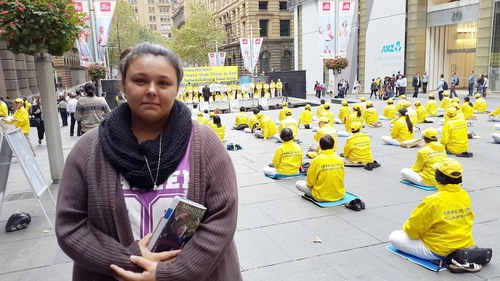 Shanaye March, a student at University of Technology, Sydney, could not hold back her tears after learning of the brutality of the persecution in China.