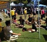 Learning the Falun Dafa exercises at San Diego Earth Day event in Balboa Park