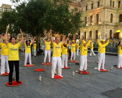Falun Gong exercise demonstration.