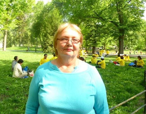 Marjoram Allen learned the Falun Dafa exercises in Central Park.