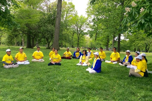 Practitioners do the Falun Dafa exercises in Central Park, Manhattan.