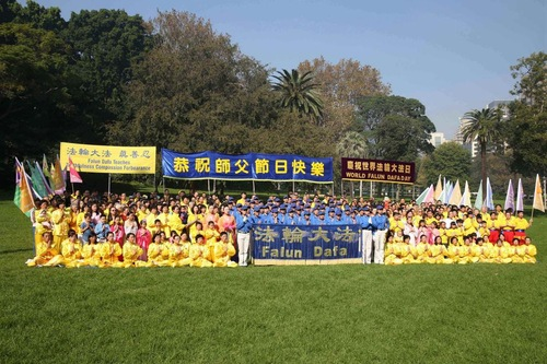 Falun Dafa practitioners gathered at Hyde Park.