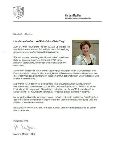 Letter from Martina Maaßen, member of the state parliament of North Rhine-Westphalia