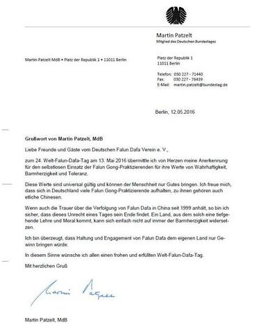 Letter from Martin Patzelt, MP in the German Parliament