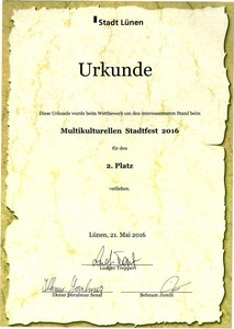 Falun Gong won the second place award at the Lunen City Multicultural Festival.