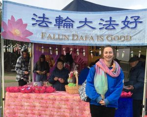 Veronika Mueller, a Falun Gong practitioner from Germany, said practicing Falun Gong gives her energy.