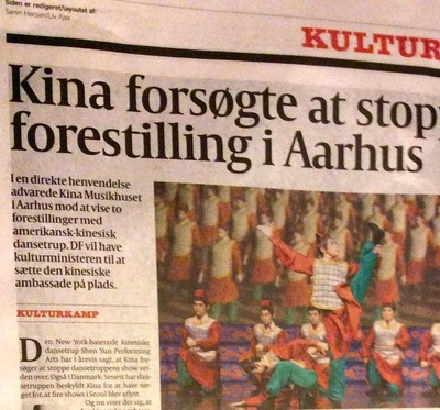 Danish Politiken reports the Chinese embassy's intention to block the show.