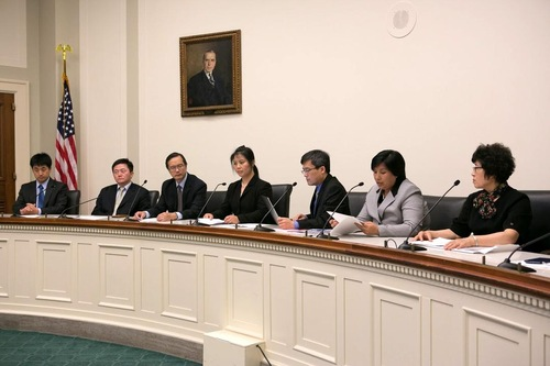 """Speakers at the """"Human Rights Atrocities in China—Bringing Perpetrators to Justice"""" forum, which was held in the Rayburn House Office Building on May 26, 2016."""