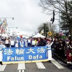 Falun Gong practitioners participate in the Winter Magic Festival parade in Katoomba, New South Wales.