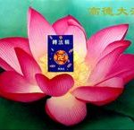 The book sitting in the centre of the lotus flower is the core text of Falun Gong, Zhuan Falun.
