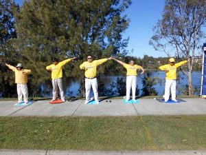 Falun Dafa Practitioners continue to demonstrate the meditation exercise.