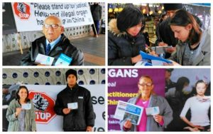 Australian citizens sign postcards to their MPs to urge the Australian government to take action to stop the forced organ harvesting atrocities in China.