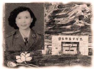 "Drawing 1: Ms. Li's picture on the left; the sign on the right reads ""National Prosecutors College of P.R.C."""