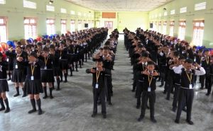 High school students in an Indian state near the Myanmar border learn the Falun Dafa exercises.