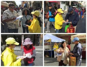 People sign a petition against the CCP's live organ harvesting in San Francisco.