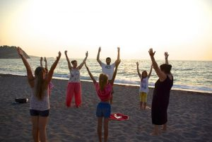 Practitioners did the exercises on the beach of Lesvos, Greece every day.
