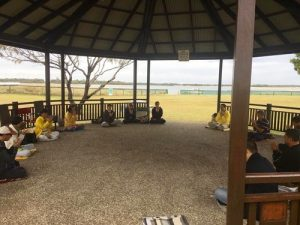 Falun Dafa practitioners at the newest practice site at Harley Park on the Gold Coast, Queensland.