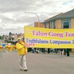 Falun Gong's waist drum team performs in the Tulip Time Festival parade in Bowral, Australia