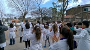 Students of a Montevideo school in Uruguay, perform the Falun Dafa exercises daily.