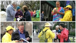 People learn about Falun Gong and the persecution in China.