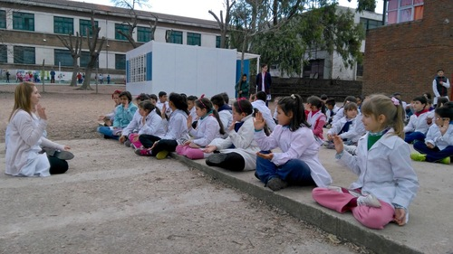Young student in Montivedeo, Uruguay doing the sitting meditation, Falun Dafa exercise.