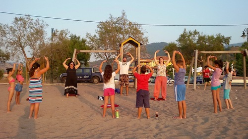 Practitioners did the exercises on the beach every day.