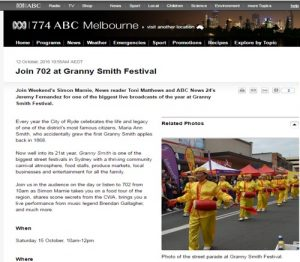 The Australian Broadcasting Corporation (ABC), a state-owned national public broadcaster, has listed the Falun Dafa waist drum team on its web page to promote the community festival.