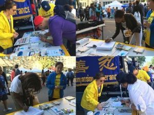 People sign petitions calling to stop the suppression in China.