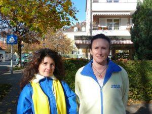 Falun Dafa practitioners Corina (l) and Dana (r) from Italy.