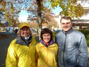 Left to right: Alexandra, Carolina, and Denis from Ukraine traveled more than 20 hours to Munich to participate in the event.