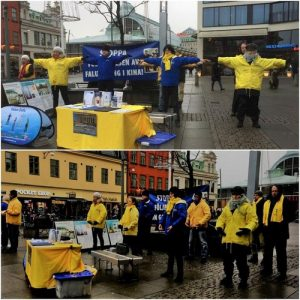 Practitioners in Gothenburg, Sweden raise awareness of the persecution.