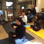 Participants learing the meditation exercises at the 18th Falun Dafa Seminar in Manhattan which was held at Tianti Books from November 12 to November 20, 2016.