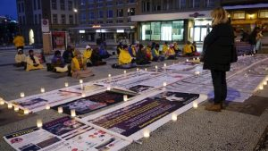 Candlelight vigil on Waisenhausplatz, Bern, Switzerland on January 14, 2017.