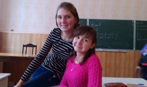 Yulia (right) and Irene (left), both are students at Pavlov College in Voroneshi, Russia