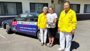 Ms. Christina Dempsey plans to distribute Falun Gong literature in her neighborhood.