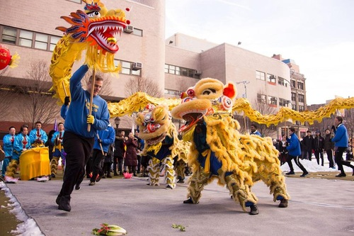 Falun Gong practitioners brought dragon and lion dances to the Lantern Festival celebration in Manhattan Chinatown on February 11, 2017.