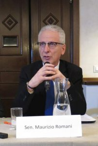 Italian Senator Maurizio Romani, vice president of the Health Commission, in a press conference on February 7, 2017.