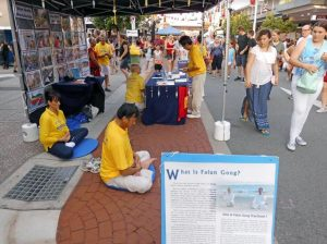 Falun Dafa practioners demonstrating the exercises.