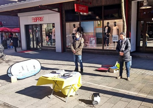 Falun Gong practitioners demonstrate the exercises in downtown Halmstad.