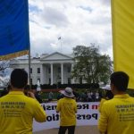 Falun Gong practitioners gather in front of the White House on April 4, 2017 to call for an end to the persecution of Falun Gong in China.