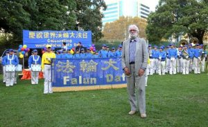 Bob Vinnicombe, China affairs and information analyst, spoke at the rally, commending Falun Gong and condemning the CCP's persecution.