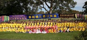 Group photo of practitioners who participated in the World Falun Dafa Day event in Sydney.