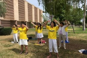 Doing the Falun Gong exercises in front of the Arizona State capitol on April 25.