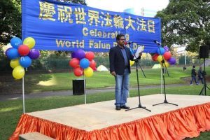 John Kennedy, Chair of the United Indian Association in New South Wales, Australia, spoke at the rally and commended Falun Gong.