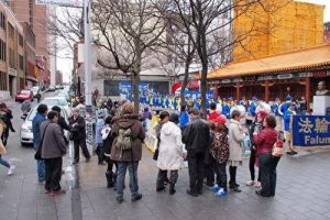 Falun Dafa practitioners march in Montreal's Chinatown on April 22, 2017.