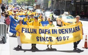 Practitioners from Denmark attended the march in New York City on May 12 to celebrate the 18th annual World Falun Dafa Day.