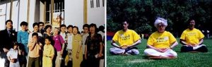 Left: Elaine Vallance Featherstone (in fuchsia blouse) with practitioners in Washington DC in 2001. Right: Elaine (middle) practices the sitting meditation in a park.