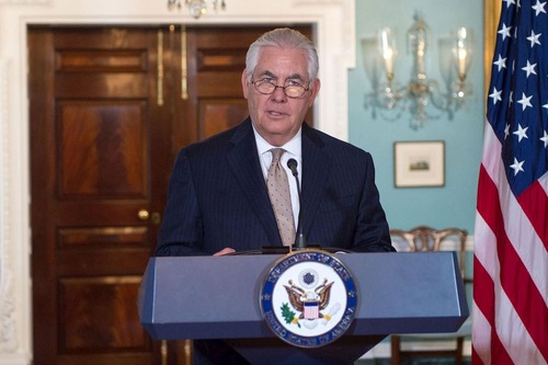 U.S. Secretary of State Rex Tillerson at the press conference.